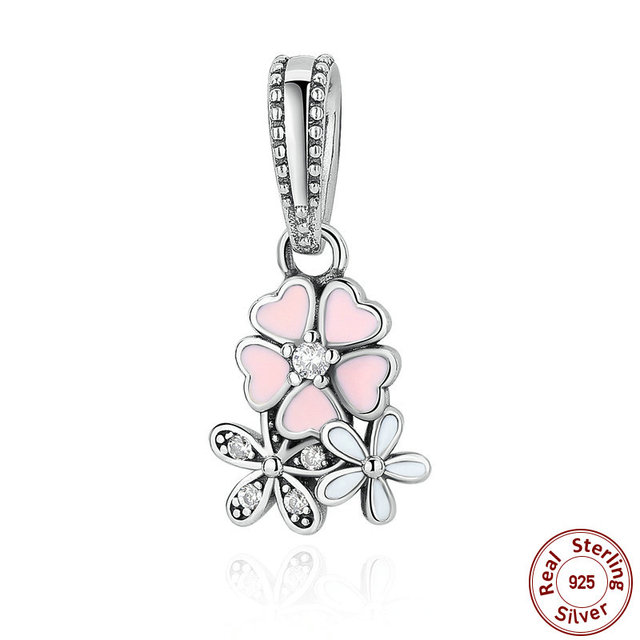 4a4923bdd06cb US $15.2 |925 Sterling Silver Jewelry Poetic Blooms, Mixed Enamels & Clear  CZ Charms Fit Pandora Bracelet Bangle Fine Jewelry -in Charms from Jewelry  ...