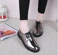 freeshipping     Big yards for women's shoes, 2016 new fashion contracted mirror round head patent leather shoes flat shoes