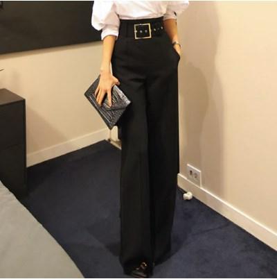 Elegante Ol Retro Hj333 Primavera Formal Cintura Estilo Ancha De Alta Las Clobee Negro Pierna Mujeres Ropa Pantalones Coreano 2018 Oficina Bxf75pq