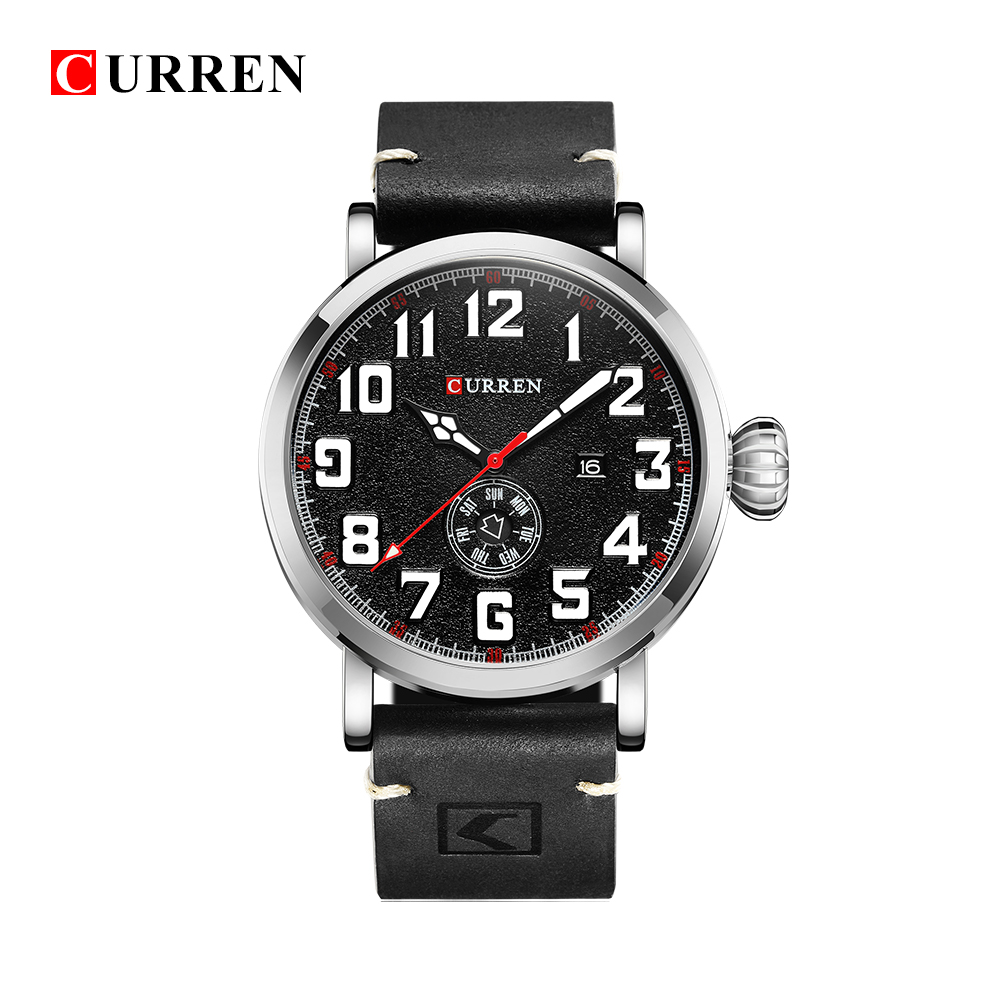 Curren Leather Band Watches Men Top Brand Relogio Masculino 2018 NEW Mens Sports Clock Analog Quartz Wrist Sports Watches 8283 fabulous 2016 quicksand pattern leather band analog quartz vogue wrist watches 11 23