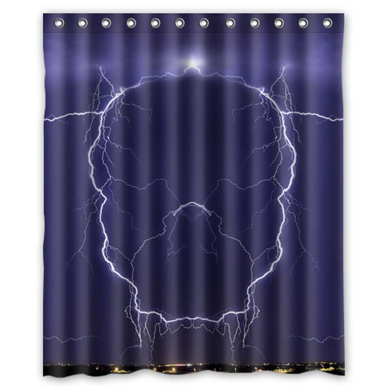 Hot Seller Purple Lightning Skull Design Your Own Waterproof Shower