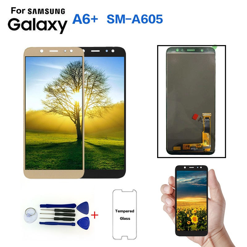 For Samsung Galaxy A6+ A605 SM-A605F Display LCD Screen Replacement For Samsung SM-A605FN A605G A605GN Lcd Display Module