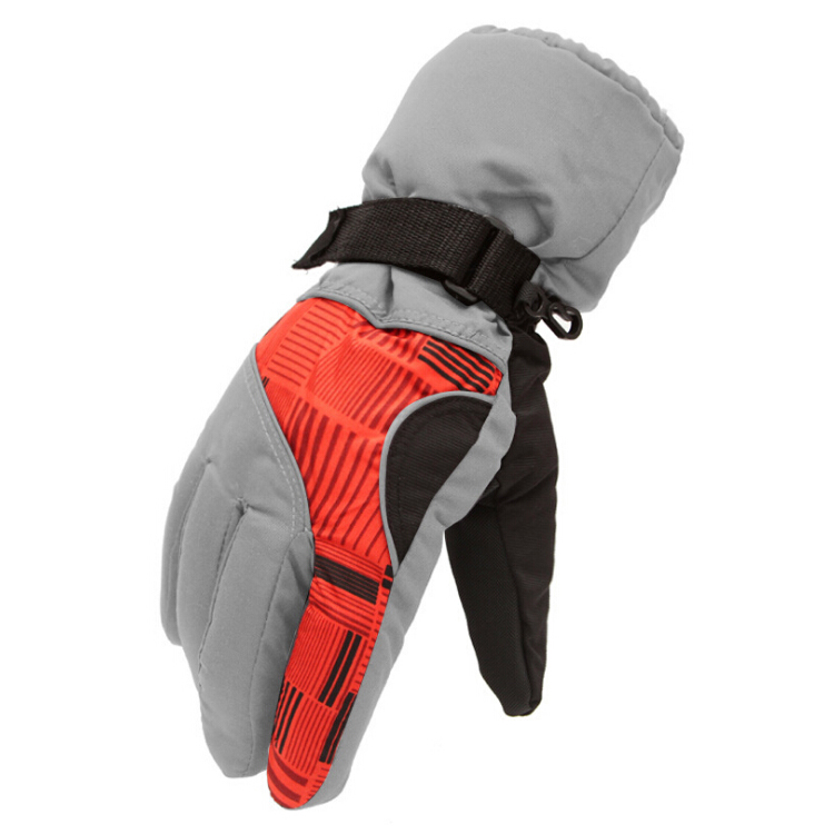 2x Winter Man Outdoor Sports Waterproof Thickening Climbing Skiing Gloves (Light orange)