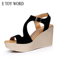E TOY WORD wedges Summer Woman 2019 platform Sandals Women shoes high heels sandals Female Large size 40 43 Women sandals