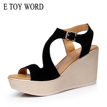 E TOY WORD wedges Summer Woman 2019 platform Sandals Women shoes high heels sandals Female Large size 40-43