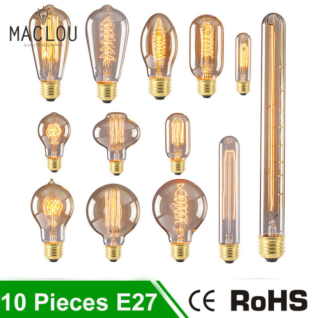 10pcs incandescent edison bulbs e27 220v 40w filament vintage retro lamp lampada light bulb christmas ampoule