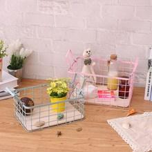 Handle Storage Basket Wrought Iron Box Cosmetics / Jewelry Text Toys Finishing Blue