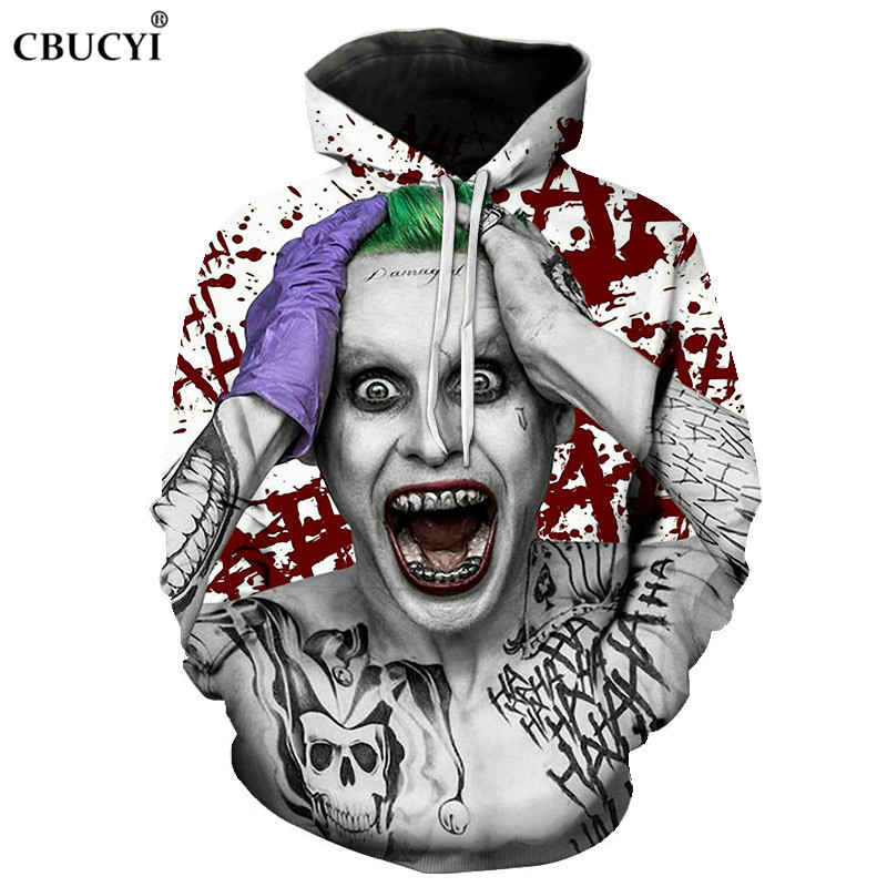Suicide squad clown hoodie men and women 3D pullover autumn and winter fashion erkek sweatshirt men's funny funny sports hoodie