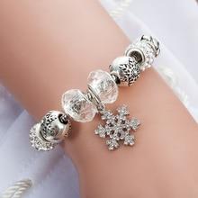 Snowflake Charm Bracelet For Women DIY Crystal Beads