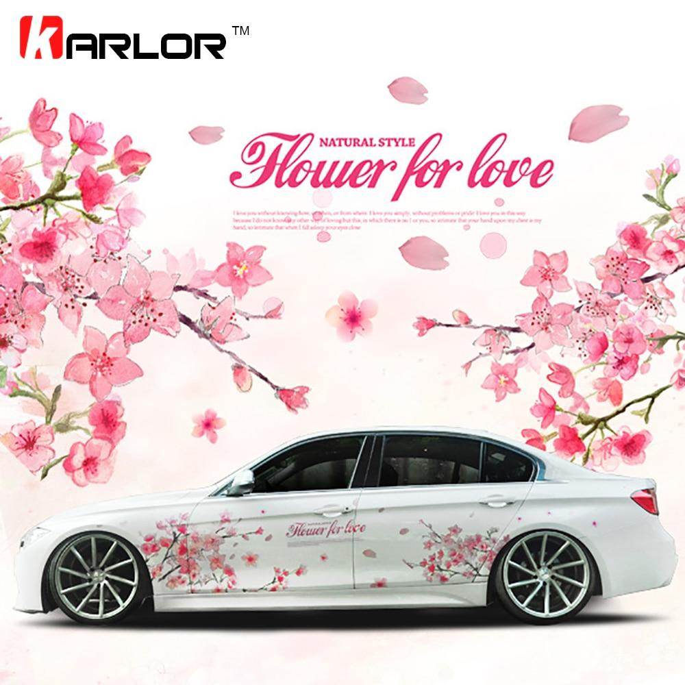 2017 Nouveau 1 Paire Oriental Cerise Blossom Sakura Fleur De Mariage Rose Romantique De Voiture Automatique du Décalque De Mariage Corps Autocollant De Voiture-style