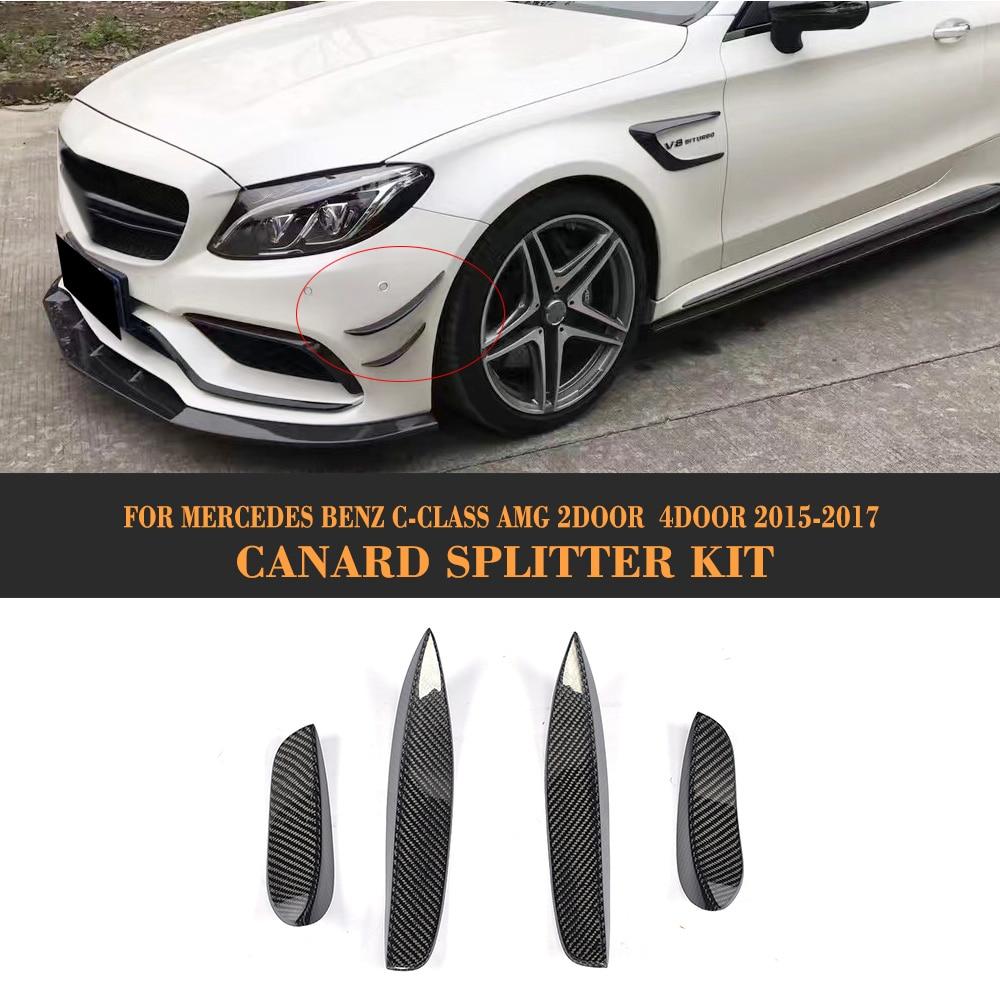 C Class Carbon Fiber Front Bumper Side Spoiler Flip Fins for Mercedes Benz W205 C63 AMG 2015 2016 2017 4PCS цена