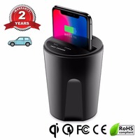X8 10W Car Qi Wireless Charger For Iphone 8 Plus X cUP Slot Car Fast Chargering Pad For Samsung S8 S7 S6 Edge For Xiaomi