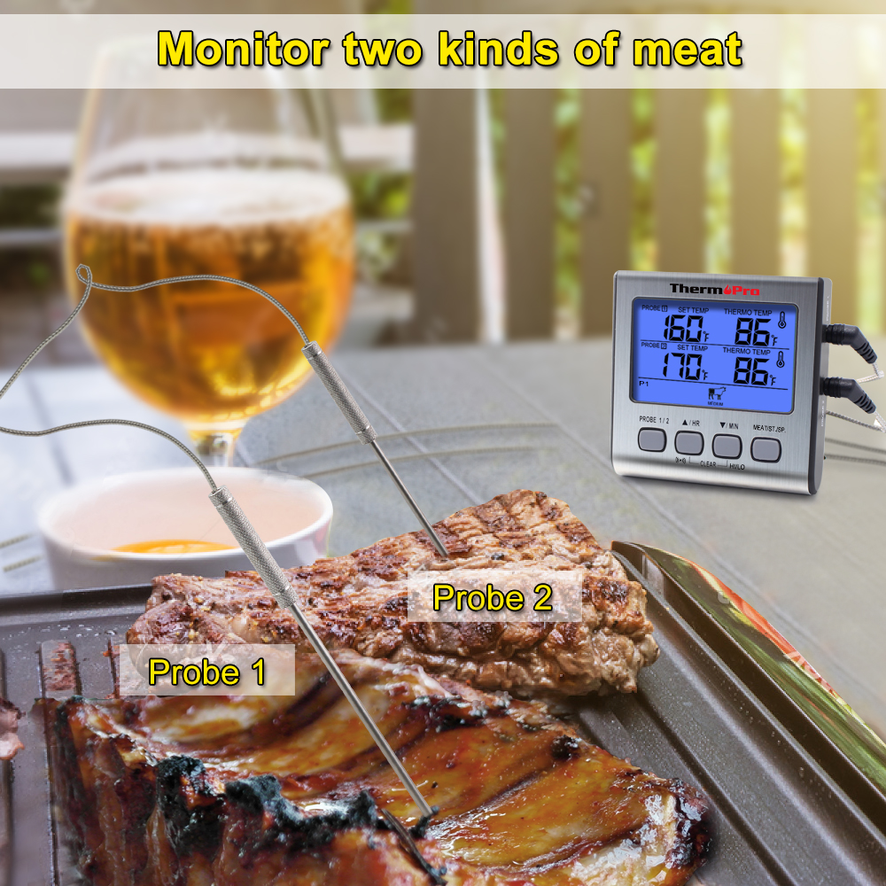 Image 3 - ThermoPro TP17 Digital Kitchen Meat Thermometer With Timer Stainless steel probe for oven-in Temperature Gauges from Home & Garden