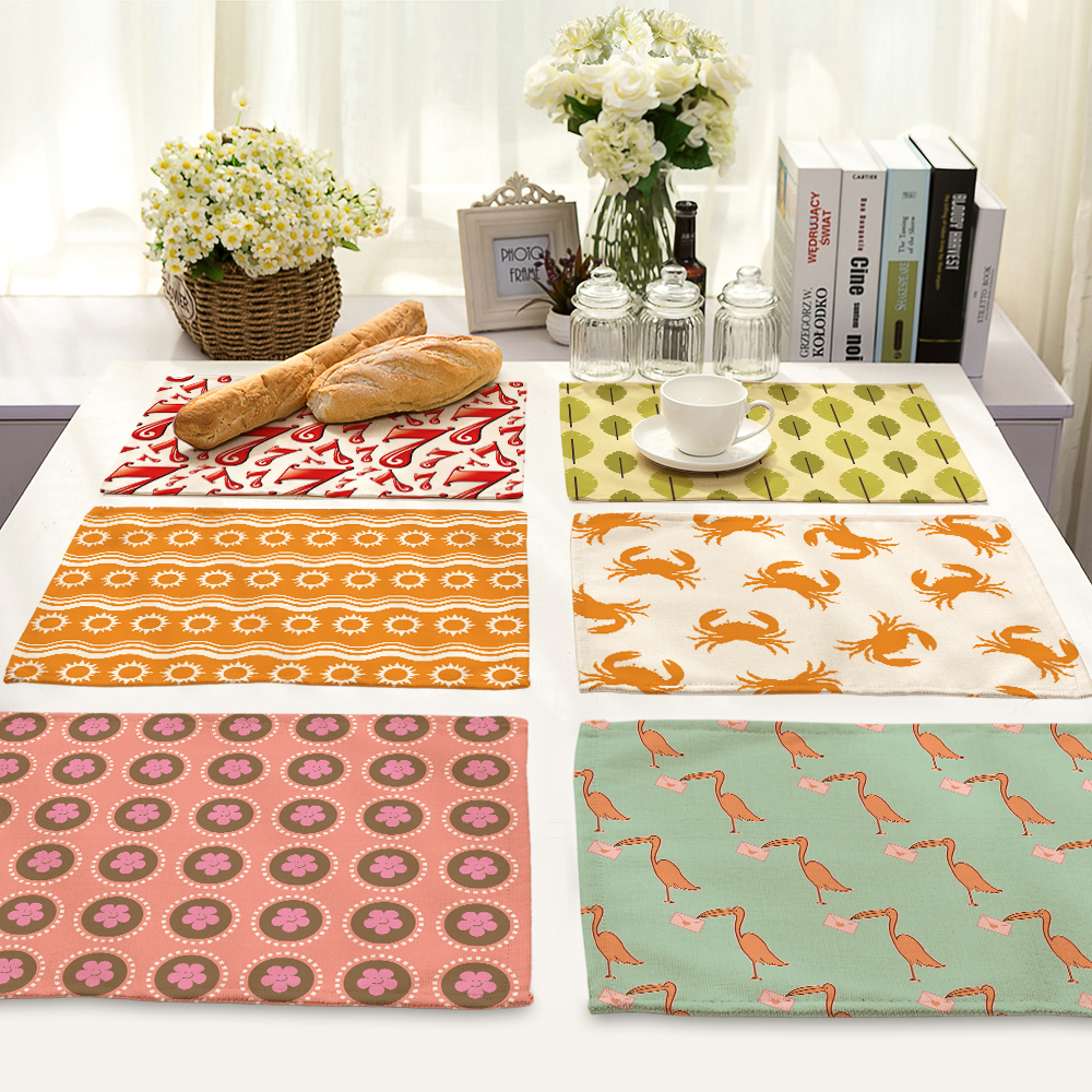 42*32cm Fashion crab flower Printed Table Napkins for Wedding Party Table Cloth Polyester Dinner Napkin Home Textile