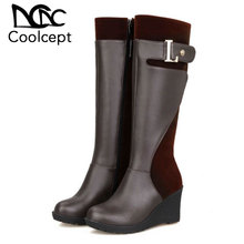 Coolcept Plus Size 30-52 Women High Wedges Boots Patchwork Winter Knee Metal Buckle Shoes Office Ladies