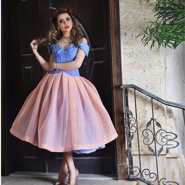 95d47424698 Sweet Puffy Tea Length Off the Shoulder Prom Dresses Sweetheart Blue And  Organza Satin Corset Evening Party Gown Short Prom Gown