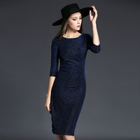 האופנה צבע בהיר משי נשי סוף גבוה ירך חבילת Slim כוכבי שמיים צבע טהור פנאי אלגנטי ארוך רוסיה מכירת חמה שמלת