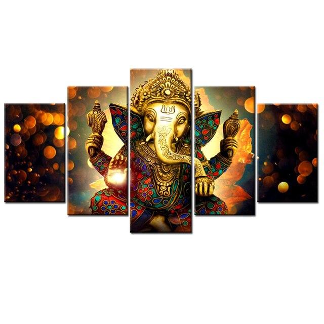 Aliexpress.com : Buy 5 Panels Ganesha Wall Art Modular Picture Print ...