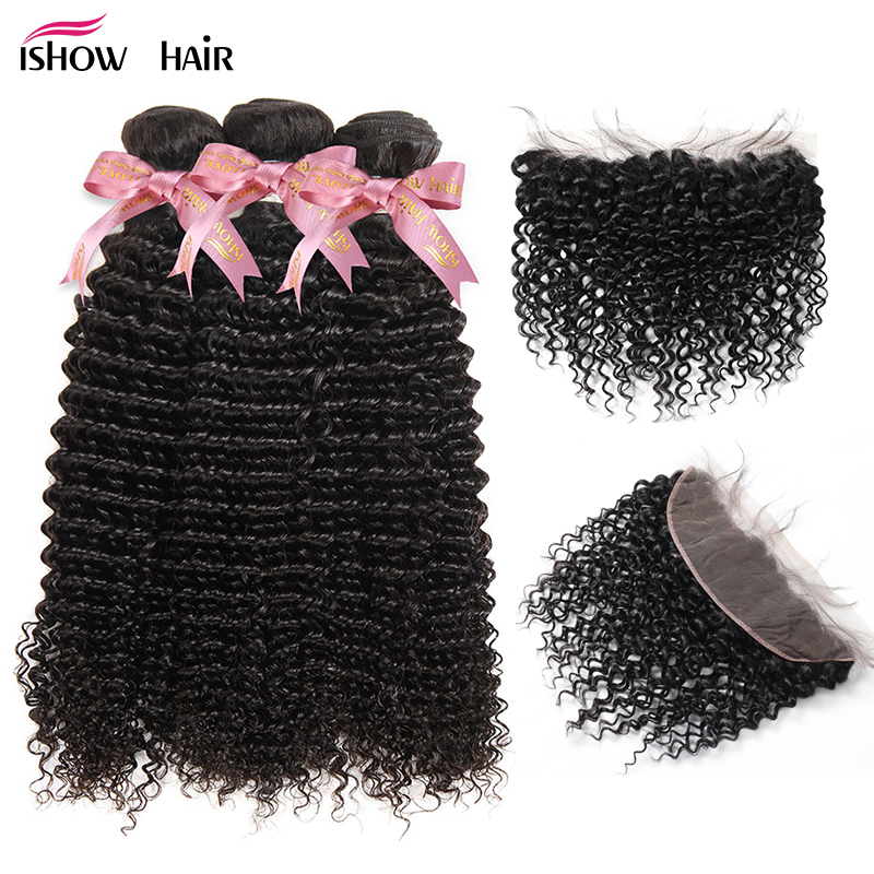 Ishow Peruvian Kinky Curly Hair With Closure Pre Plucked Lace Frontal With Bundles 100% Remy Human Hair Bundles With Closure
