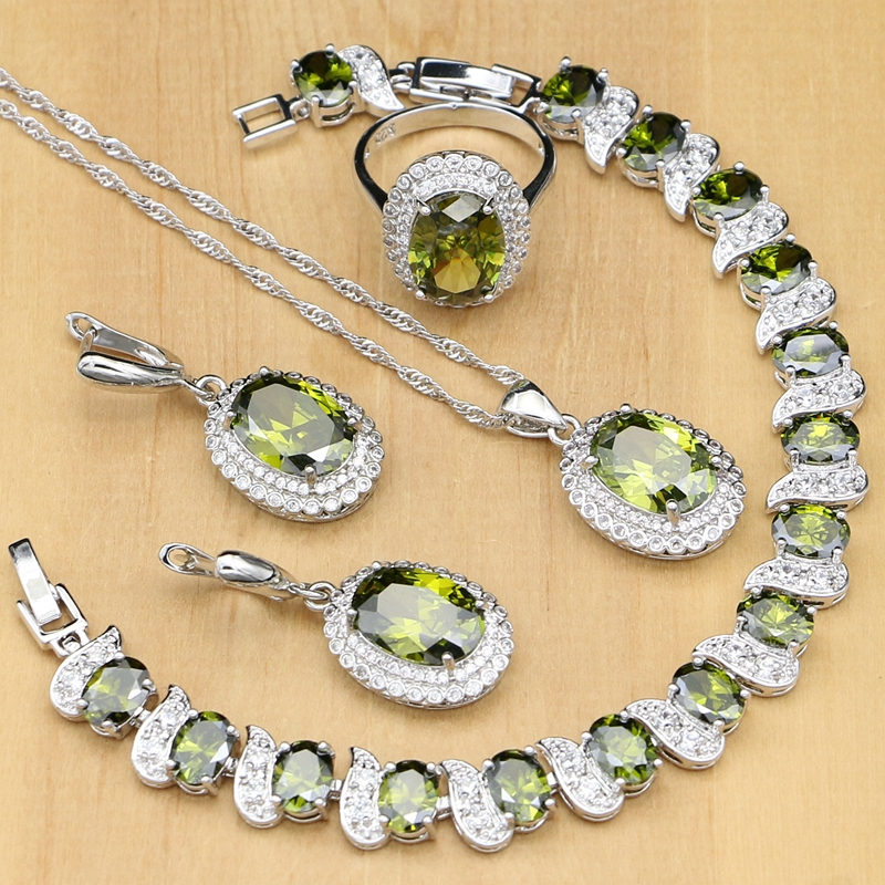 Olive Green Cubic Zirconia 925 Sterling Silver Jewelry Sets For Women Party Earrings/Pendant/Rings/Bracelet/Necklace Set