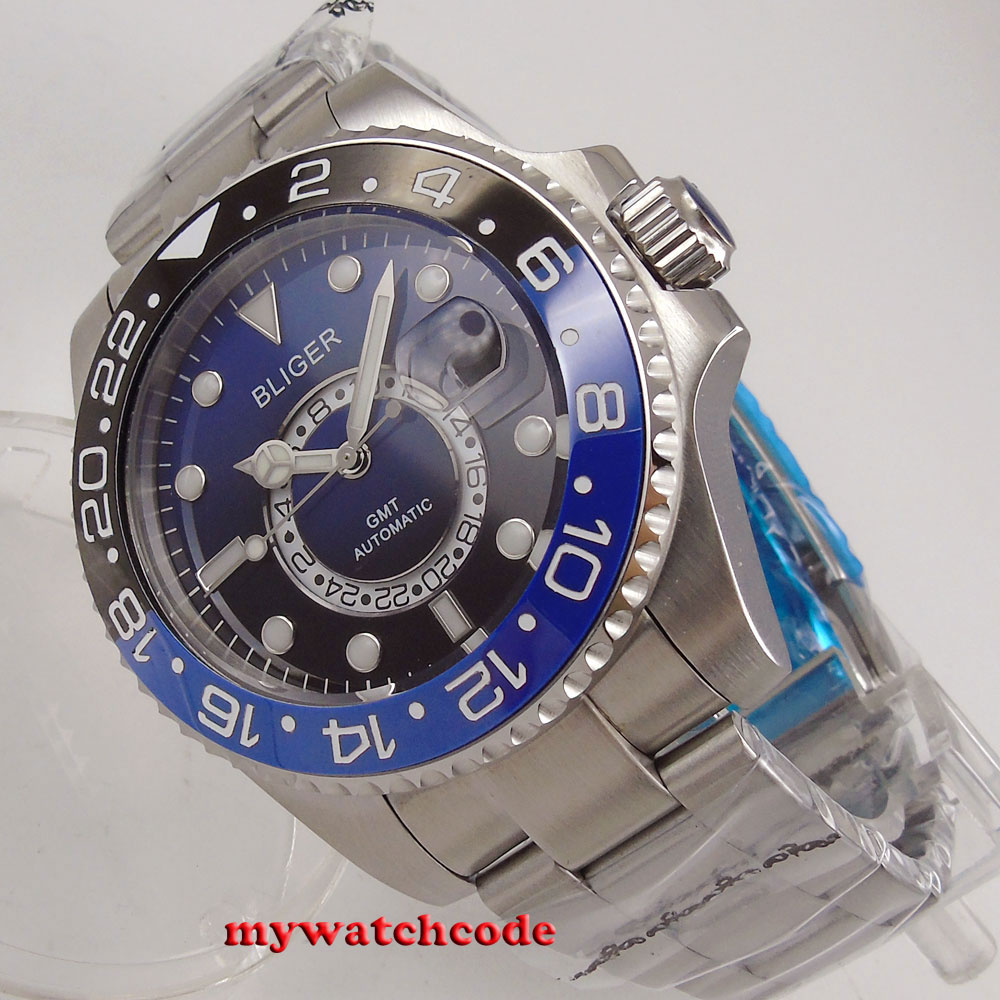 43mm bliger 그라데이션 블루 다이얼 빛나는 사파이어 크리스탈 gmt 자동식 남성용 시계-에서기계식 시계부터 시계 의  그룹 1