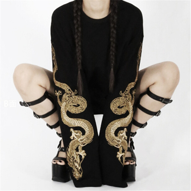 2017 Women's Cool Harajuku Loose Style Black Hoodie Golden Dragon Embroidery  Sweatshirt Long Sleeve Japanese