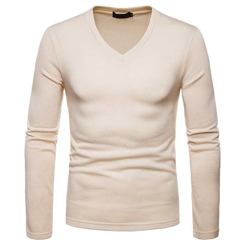 古典的なソリッドカラーの V ネック Tシャツメンズ 2018 冬プラスベルベットウォーム Tシャツ男性スリムフィット長袖 Tシャツ男性 Tシャツオム