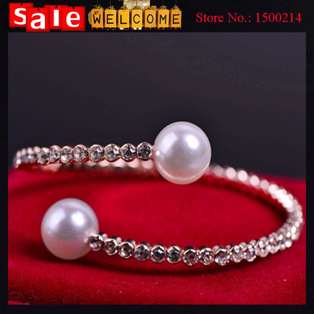 2017 Double Imitation Pearl Golden Bangles White Bead Crystal Full Rhinsetone Cuff Bracelet Bangle for Women Female Jewelry Gift