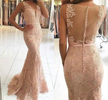 New Beads Lace Mermaid Pink Prom Dress Party Formal Evening Gown Pageant Custom
