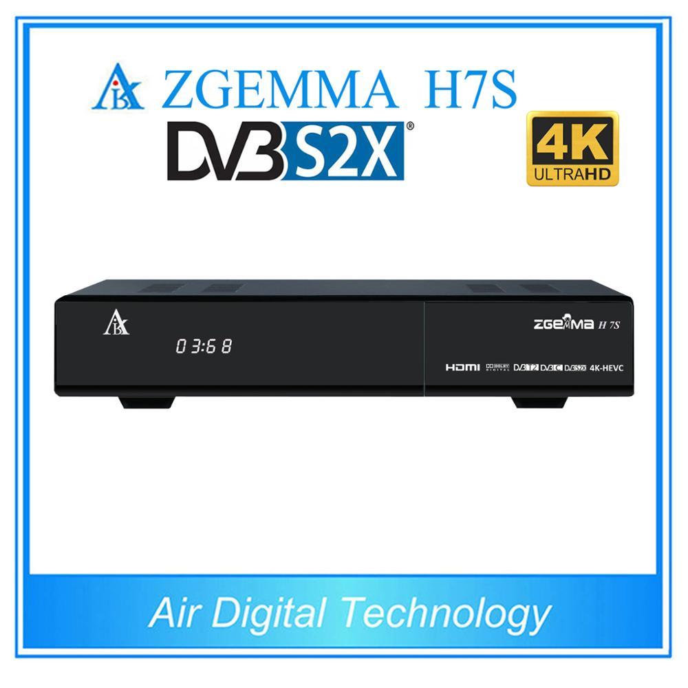 2pcs/lot 4K UHD Zgemma H7S 2xDVB-S2X+DVB-T2/C HEVC H.265 4K satellite receiver Linux Enigma 2 IPTV BOX hd h 265 hevc avc 1u 4 channels hdmi dvb t encoder modulator for ip stream to vlc media server xtream codes