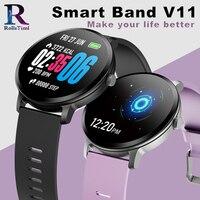 RollsTimi Casual Fashion Smart Band V11 Fitness Tracker Blood Pressure Monitor Men Smart Watch Waterproof Sport Wristwatch Women