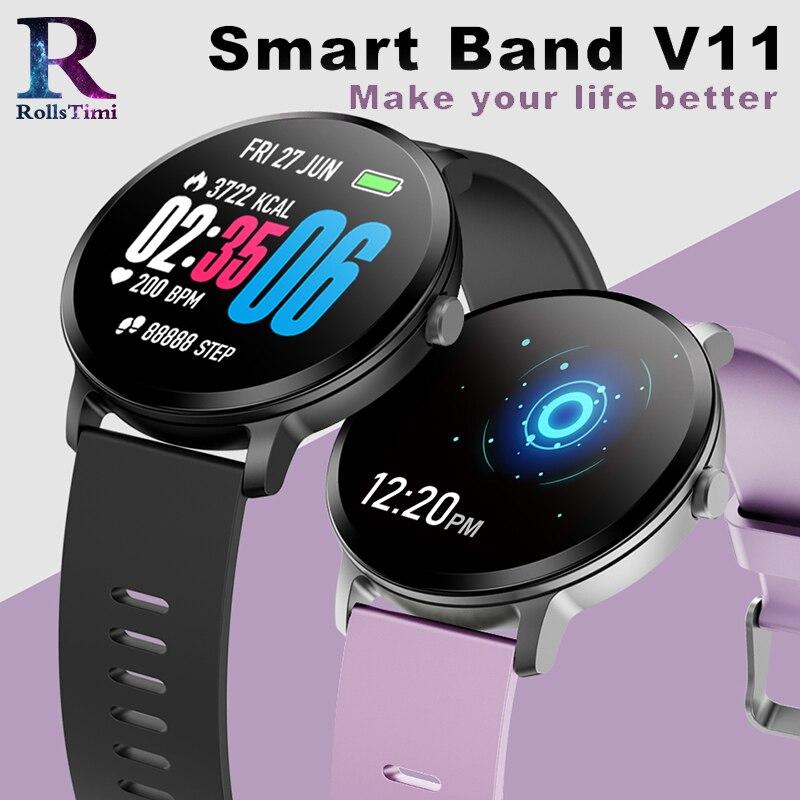 Rollstimi Повседневное Мода Smart Band V11 Фитнес трекер крови Давление монитор Для мужчин Смарт-часы Водонепроницаемый наручные Спорт Для женщин