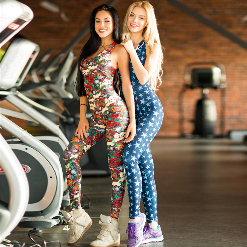 One Piece Women Gym Sports Wear Floral Printed Workout Clothing Backless Yoga Jumpsuit Fitness Tight Dance Active Wear Quick Dry bu166 women white grid sparkling crystals jumpsuit 3d printed nightclub party stage wear costume singer dancer bling bodysuit