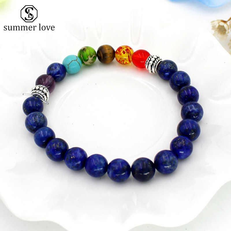 7 Chakra Healing Beaded Bracelet Natural Lava Stone Tiger Eye Beads Bracelet 8MM For Women Men Fashion Yoga Jewelry Dropshipping