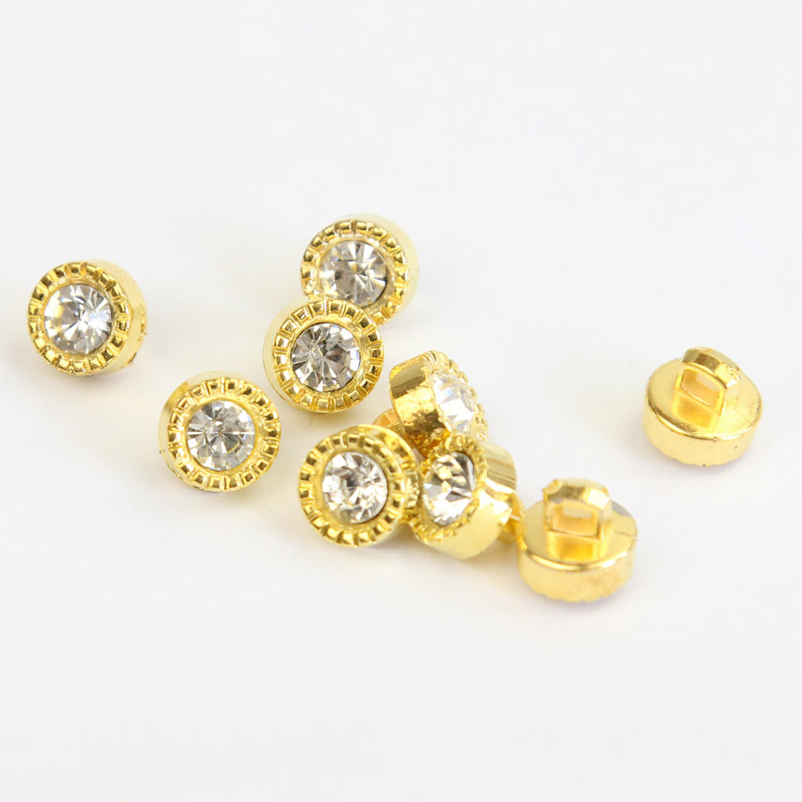 30 pcs Gold Round Plastic Rhinestone Buttons Sewing Shank Buttons Craft Decor Sewing