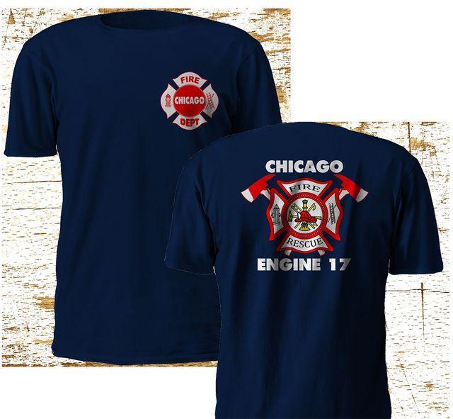 Di modo di Nuovo Chicago Vigile Del Fuoco Dipartimento Backdraft Motore 17 Fuoco Navy T shirt M   3XL Tee shirt
