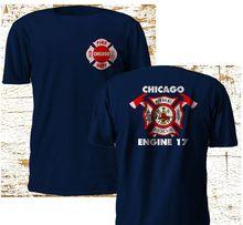 Moda nowy Chicago strażak departament Backdraft silnik 17 ogień granatowy T Shirt M   3XL koszulka
