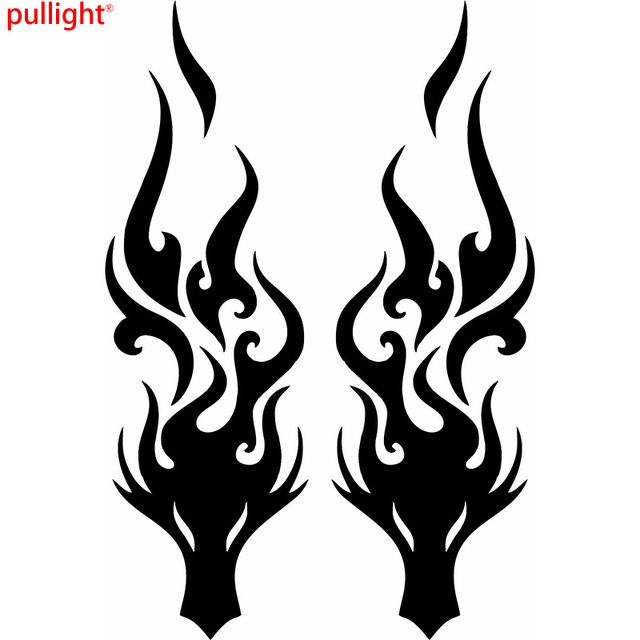 1 pair dragon head fire auto car bumper window vinyl decal sticker decals