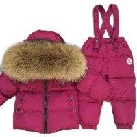Детская одежда детские комбинезоны зимние куртки пуховики плотное пальто + комбинезон Детские комплекты одежды России 40 градусов для мальч