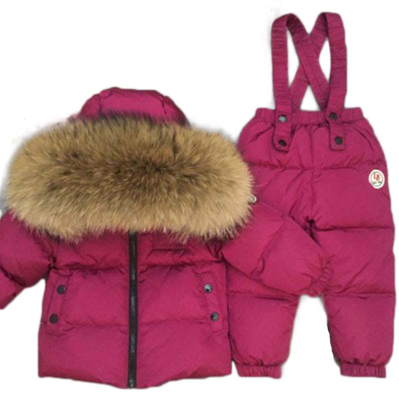 children clothing baby rompers winter down jackets thick coat+jumpsuit kids clothes set Russia -40degree boys Warm Coat  20# russia winter baby rompers new born baby pakas thick down baby ropa warm outerwear for baby girls boys cute clothes little kids