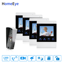 HomeEye 4-Wired Video Door Phone Video Intercom Touch Button Doorbell Camera 4'' Monitor Video Record OSD Menu 1-4 Access System