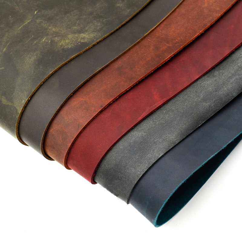 sale price crazy horse skin leather 2.0mm vegetable tanned wax retro style 5 size 6 color available