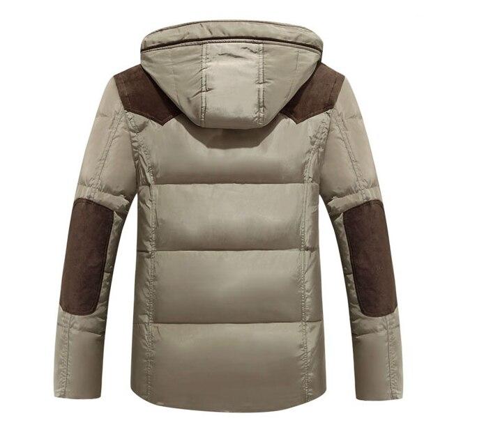 Мужская зимняя куртка на утином пуху, Толстая теплая парка для мужчин, повседневная куртка с капюшоном в стиле пэчворк, цвета хаки, синий, ар