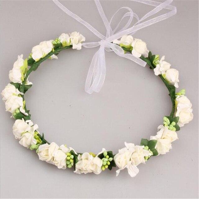 1 Pcs Multicolor Handmade Bunga Crown Pernikahan Karangan Bunga Bridal  Bulang Bando Karet Rambut Garland untuk 07f499b2604