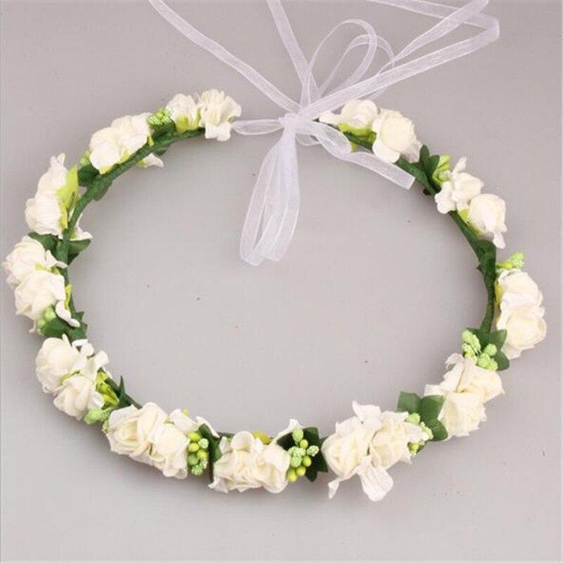 Multicolor Handmade Flower Crown Wedding Wreaths Bridal Headdress Headband Hairband Garland for Women Lady Girl