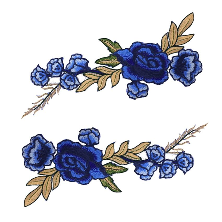 Pcs set deep blue applique embroidery flower patches for