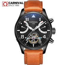 2017 New Carnival brand tourbillon automatic mechanical watches full steel clocks luxury mens watch genuine leather montre saati