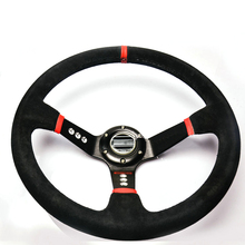 Savanini New Universal Sport 350mm Suede Leather Deep Dish Steering Wheel Red Strip