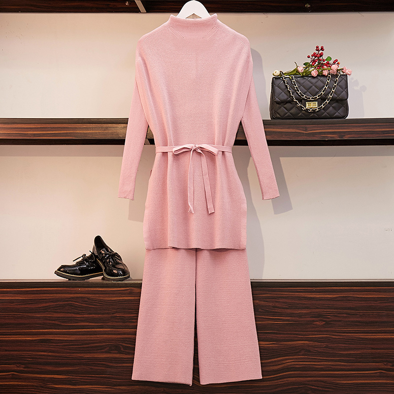 HAMALIEL New Arrival Spring Pants Suits Women Pink Tie Bow Stand Collar Knitted Long Sweater Tracksuit + Wide Leg Trousers Suits