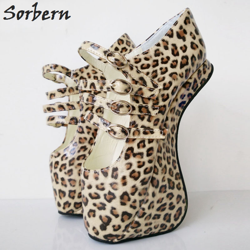 Sorbern Custom Leopard Novelty <font><b>Extrem</b></font> <font><b>High</b></font> <font><b>Heels</b></font> Heelless Ballet Pump <font><b>Shoes</b></font> <font><b>Sexy</b></font> <font><b>Fetish</b></font> Ladies <font><b>Shoes</b></font> With <font><b>Heels</b></font> Size 43 image